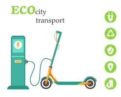 Eco city transport. Charging electric scooter at a-station. Concept of Nature Saving and New Technology. Vector illustration