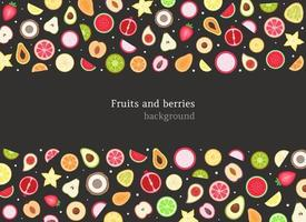 Fruits and berries background. Vector illustration