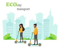 Eco city transport. Man and woman riding kick scooter. Vector illustration