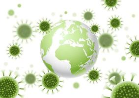 Abstract background with a world globe and virus cells design vector