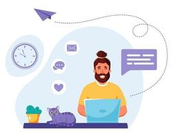 Man working on laptop. Freelance, online studying, remote work concept. Vector illustration