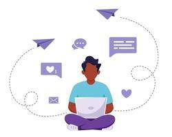 Black man sitting with laptop. Freelance, online studying, remote work concept. Vector illustration