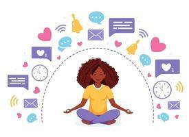 Information detox and meditation. Black woman meditating in lotus pose. Digital detox concept. Vector illustration.