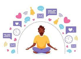 Information detox and meditation. Black man meditating in lotus pose. Digital detox concept. Vector illustration.