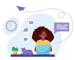 Black woman working on laptop. Freelance, online studying, remote work concept. Vector illustration