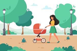mujer caminando con cochecito de bebé en el parque de la ciudad. actividad al aire libre. ilustración vectorial. vector
