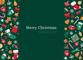 Merry Christmas background. Christmas sweets and candies collection. Vector illustration.