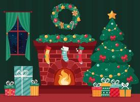 Christmas fireplace with fir tree, gifts, wreath, stockings, garland. Vector illustration.