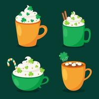 St. Patrick's Day hot drinks collection. Vector illustration.