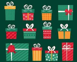 Present boxes collection. Christmas gifts. Vector illustrations.