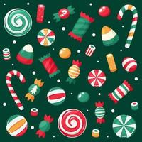 Merry Christmas card. Christmas sweets and candies collection. Vector illustration.
