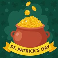 S t. tarjeta de felicitación del día de San Patricio. olla con monedas de oro. ilustración vectorial. vector