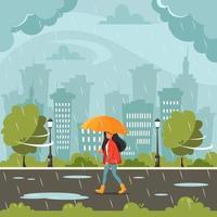 mujer caminando bajo un paraguas durante la lluvia. caer lluvia. actividades al aire libre de otoño. vector