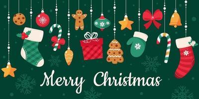 tarjeta de feliz navidad. colección de elementos navideños. ilustración vectorial. vector