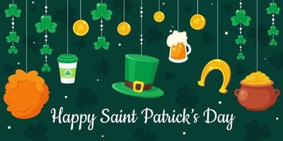 St. Patrick's Day greeting card. Vector illustration.