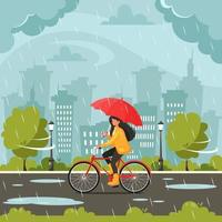 mujer montando bicicleta bajo un paraguas durante la lluvia. caer lluvia. actividades al aire libre de otoño. vector