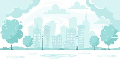 Autumn rain on city background. Rainy and windy day. Vector illustration in flat style.