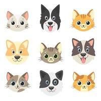 colección de lindas mascotas. caras de perros y gatos. ilustración vectorial vector