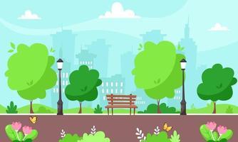 Spring city park. Cityscape. Vector illustration.