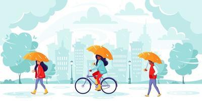 gente caminando bajo un paraguas durante la lluvia. lluvia de otoño en el fondo de la ciudad. vector