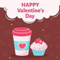 Valentine's Day greeting card. Coffee cup with cupcake. Vector illustration.
