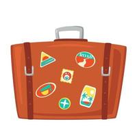 Vintage brown travel suitcase. Case for tourism, voyage, trip, tour summer vacation. Vector illustration