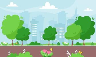 parque de la ciudad de primavera. paisaje urbano. ilustración vectorial vector