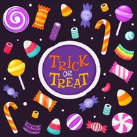 Trick or treat. Set of halloween sweets and candies. Vector illustration
