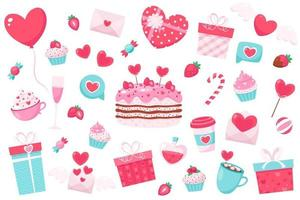 Happy Valentine's Day elements. Vector illustration.