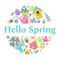 Hello spring greeting card. Birdhouse, bouquet of flowers, watering can with flowers, Easter eggs. Vector illustration
