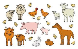 Set of cute doodle outline vector cartoon animals at the farm. Sheep, ram, cow, bull, calf, chicken, rooster, goat mother and kid, pig small and big, rabbit, hare, horse isolated on white background