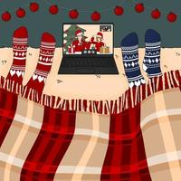Two people are watching New year and Christmas movie on the bed under the burgundy traditional plaid on laptop in knitted red and blue socks vector