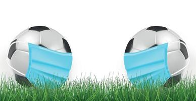 Realistic soccer balls in a medical mask on a green lawn background - Vector