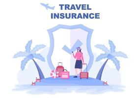 Travel and Tour Insurance Concept for Accidents, Protect Health, Emergency Risks While On Vacation. Vector Illustration