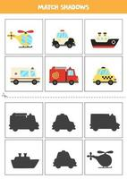 Find shadows of cartoon transport. Cards for kids. vector