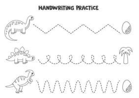Tracing lines with cute black and white dinosaurs. Writing practice. vector