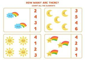 Counting game with cute sun, moon, star, cloud. Math worksheet. vector