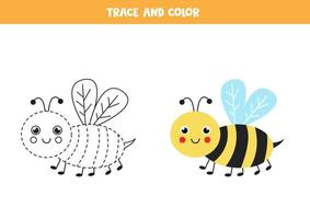 Trace and color cute bee. Worksheet for kids. vector