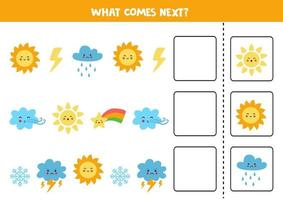 What comes next game with cute colorful weather elements. vector