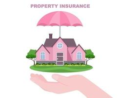 concepto de seguro de propiedad para bienes raíces, hogar de diversas situaciones como desastres naturales, incendios y otros. ilustración vectorial vector