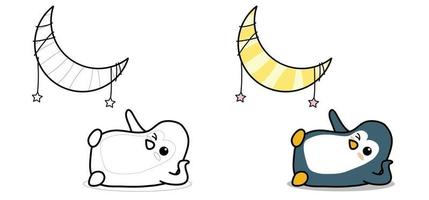 Adorable penguin and the moon cartoon coloring page for kids vector