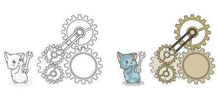 Adorable engineer cat cartoon coloring page for kids vector