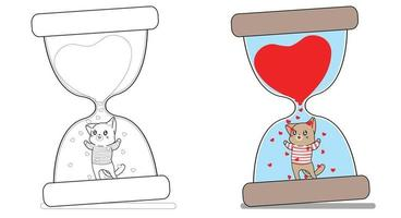 Adorable cat in the hourglass cartoon coloring page for kids vector