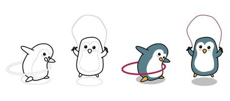 Adorable penguins are exercising cartoon coloring page for kids vector