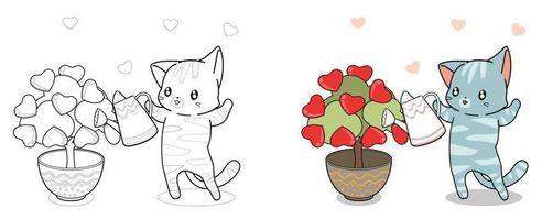 Adorable cat is planting tree of love cartoon coloring page for kids vector