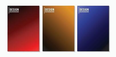 Set of Dark Red, Orange, Blue Gradient Abstract Background. vector