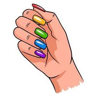 Female hand with a completed manicure. Painted nails. vector