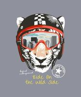 typography slogan with tiger head in biker helmet and goggle illustration vector