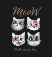 meow slogan with cute cats face painted illustration on black background vector