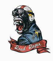 road rager slogan with gorilla in helmet and leather jacket illustration vector